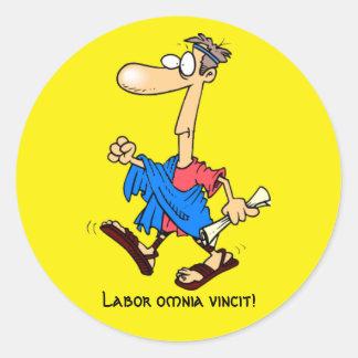 Latin: Labor omnia vincit! Classic Round Sticker