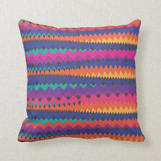 Latin Tribal Zigzag Colorful Striped Pattern Throw Pillow