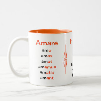 Latin verbs teacher or student Two-Tone coffee mug