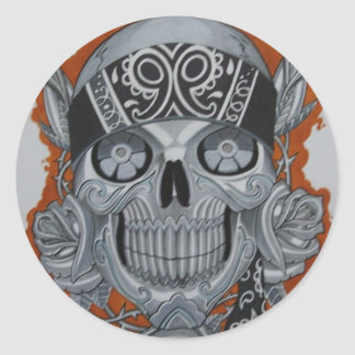 latino skull round sticker