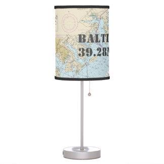 Latitude & Longitude Baltimore Maryland Chart Table Lamp
