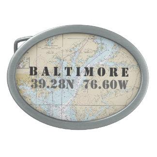 Latitude Longitude Baltimore MD Nautical Chart Belt Buckle