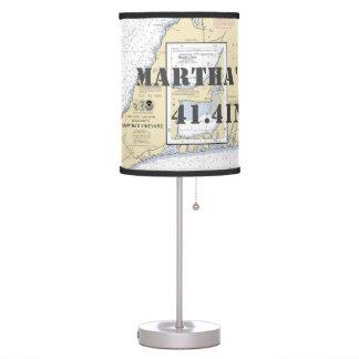 Latitude & Longitude Martha's Vineyard Chart Table Table Lamp