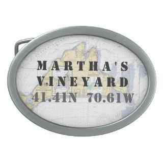 Latitude Longitude Martha's Vineyard Nautical Belt Buckles