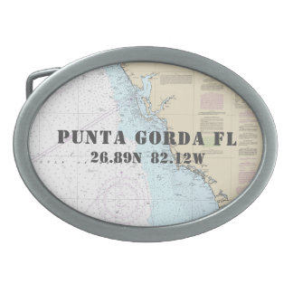 Latitude Longitude Punta Gorda FL Nautical Chart Belt Buckle