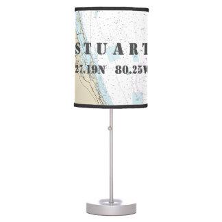 Latitude & Longitude Stuart, Florida, Chart Table Table Lamp