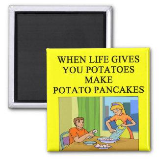 latkes potato pancake joke square magnet