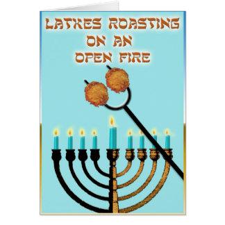 Latkes Roasting on an Open Fire... Card
