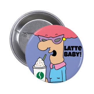 Latte coffee lover fun gifts 2 inch round button