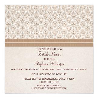 Latte Dramatic Damask Bridal Shower Invite