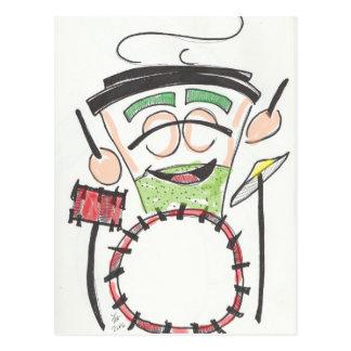 latte drummer color postcard