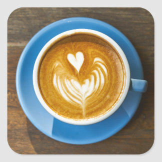 Latte Heart Art Square Sticker
