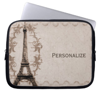 Latte Paris Grunge Laptop Sleeve