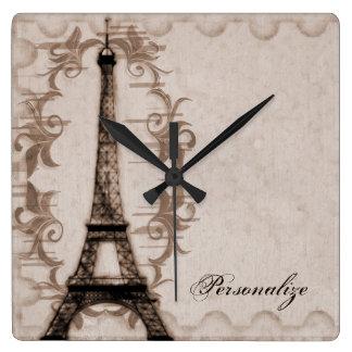 Latte Paris Grunge Wall Clock