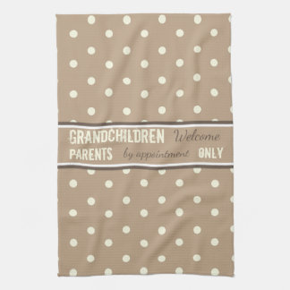 Latte polka dots Kitchen Grandparents Kitchen Towel