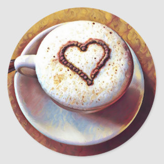 Latte with Heart Round Sticker