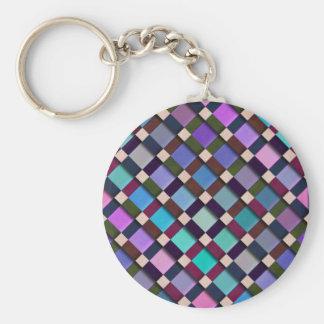 Lattice Basic Round Button Keychain