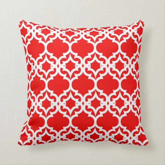 Lattice Stars in Red Throw Pillow