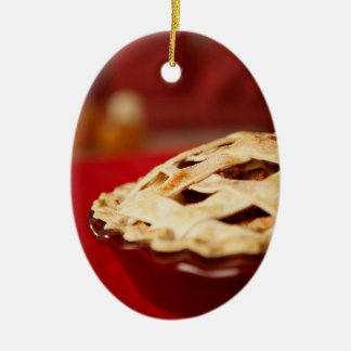 Lattice-topped Fruit Pie Ceramic Ornament
