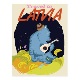 Latvia Cartoon vintage travel poster Postcard