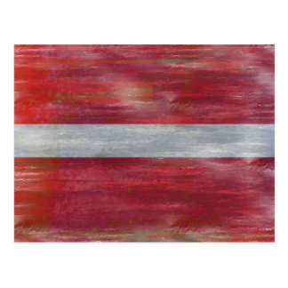 Latvia distressed Latvian flag Postcard