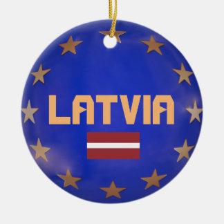 Latvia European Union Christmas Ornament