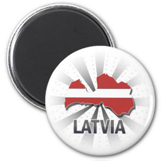 Latvia Flag Map 2.0 Magnet