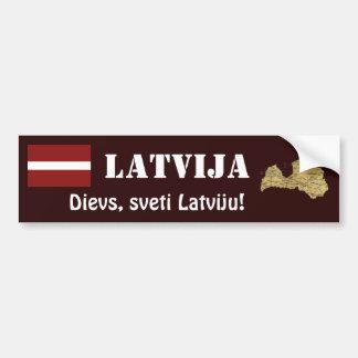 Latvia Flag + Map Bumper Sticker