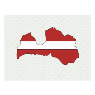 Latvia Flag Map full size Postcard