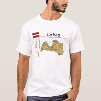 Latvia Map + Flag + Title T-Shirt