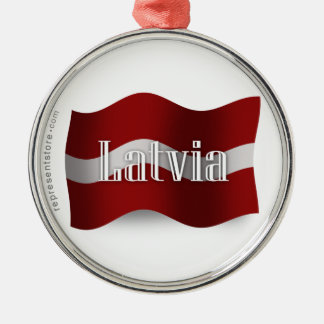 Latvia Waving Flag Silver-Colored Round Ornament
