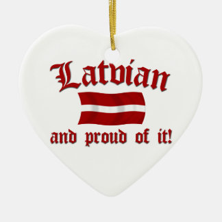 Latvian and Proud of It Ceramic Heart Ornament