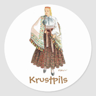 Latvian costume sticker (Krustpils)