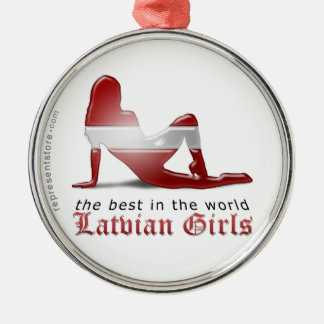 Latvian Girl Silhouette Flag Silver-Colored Round Ornament