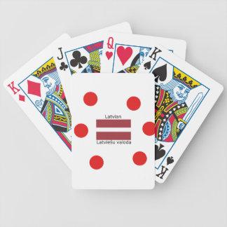Latvian Language And Latvia Flag Design Bicycle Playing Cards