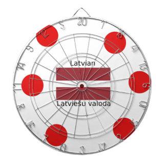 Latvian Language And Latvia Flag Design Dartboard