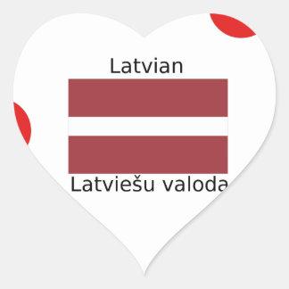 Latvian Language And Latvia Flag Design Heart Sticker