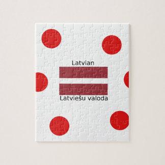 Latvian Language And Latvia Flag Design Jigsaw Puzzle