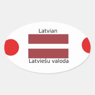 Latvian Language And Latvia Flag Design Oval Sticker