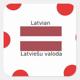 Latvian Language And Latvia Flag Design Square Sticker