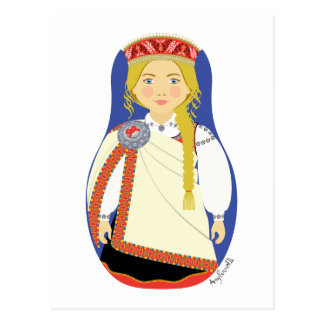 Latvian Matryoshka Postcard