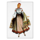 Latvian traditional costume greeting card