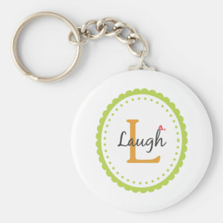 Laugh Basic Round Button Keychain