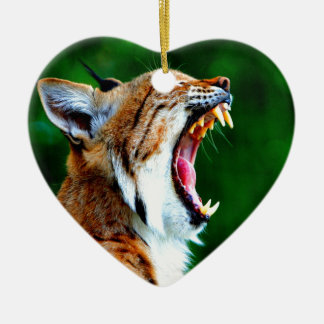 Laugh out loud bobcat lynx wildcat ceramic ornament