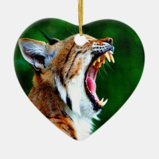 Laugh out loud bobcat lynx wildcat ceramic ornament
