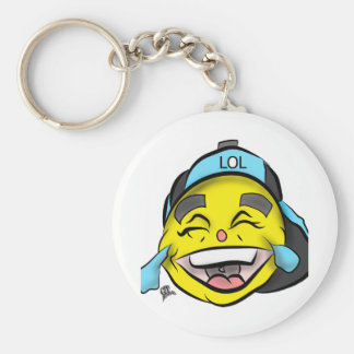 Laugh Out Loud Emoji Basic Round Button Keychain