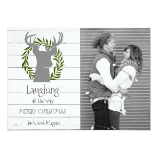 Laughing All the Way Deer Head Photo Holiday Card