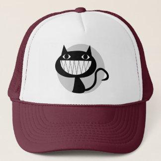 LAUGHING BLACK CAT TRUCKER HAT