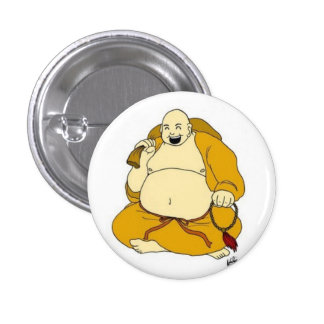 laughing buddha 1 inch round button