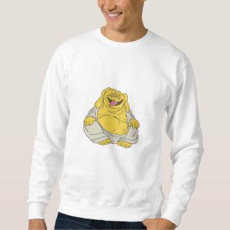 Laughing Bulldog Buddha Sitting Cartoon Sweatshirt